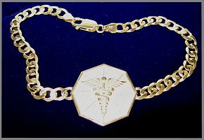 GOLD MEDICAL BRACELET HEXAGONAL