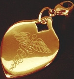 9CT GOLD HEART MEDICAL TAGS