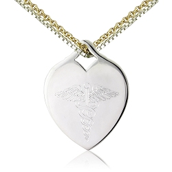 MEDICAL HEART CHARM SILVER TAG