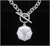 SILVER TIFFANY OCTAGONAL MEDICAL NECKLACE